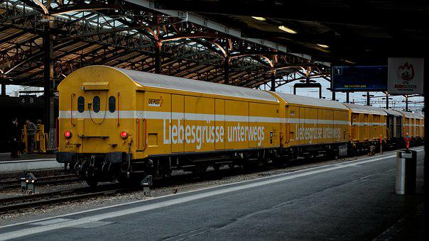Yellow, Post, Wagon, Railway Station, Lausanne