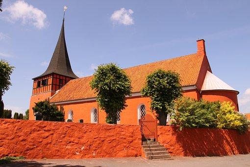 Svaneke, Church, Red, Wall, Tower, Roof, Bornholm