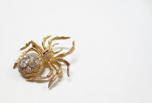 Spider, Pin, Brooch, Halloween, Spooky, Critter