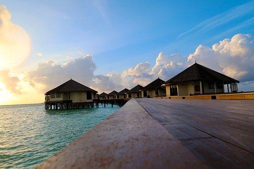 Paradise, Sunshine, Sunrise, Maldives, Landscape