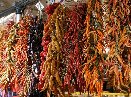 Chili, Spices, Market, Market Stall, Red Pepper