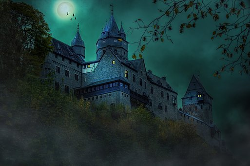 Castle, Night, Middle Ages, Moon, Mystical, Atmospheric