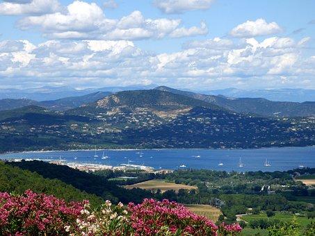 Landscape, Provence, Gassin, Flowers, Sea, Mountain