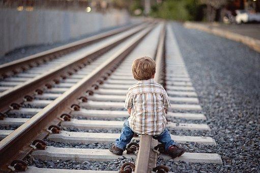 Child, Train, Railroad, Boy, Toddler, Rail