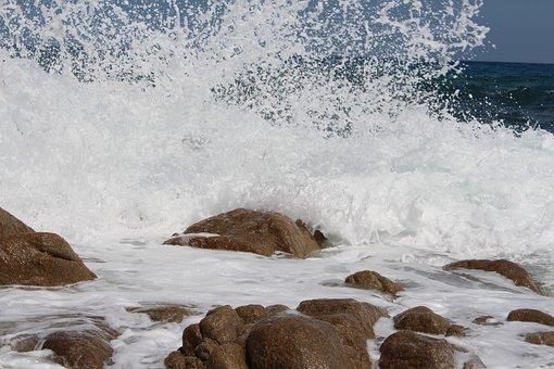Sardinia, Spray, Mediterranean, Wave, Steinig, Beach