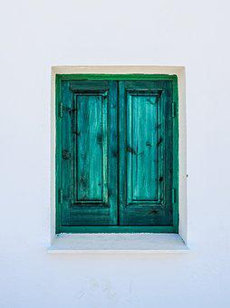Window, Wooden, Green, Wall, White, Architecture