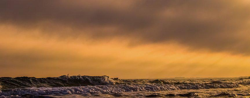Waves, Sea, Sky, Clouds, Sunset, Afternoon, Nature