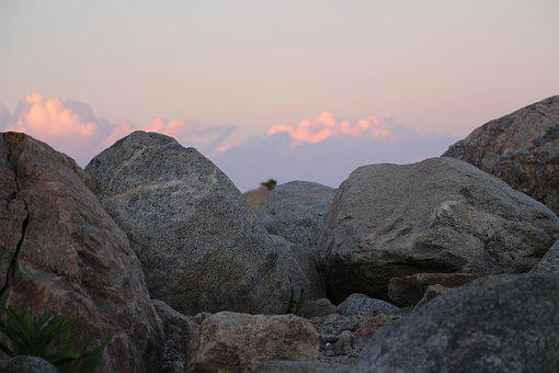 Boulders, Beach, Shore, Clouds, Blue