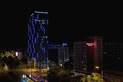 Night Photograph, Berlin, Junction, Germany, Building