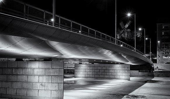 Architecture, Bridge, Built Structure, Black And White