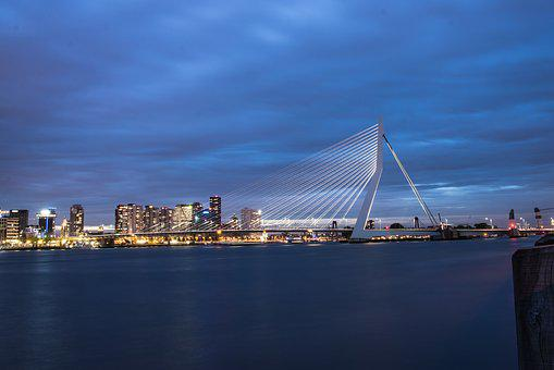 Rotterdam, Reflection, Harbor, Night, Water, Holland