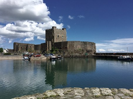 Northern Ireland, Castle, Sea, Clouds, Holiday, North