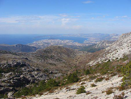 Panorama, Sea, Split, Croatia, Mountain View, Horizon