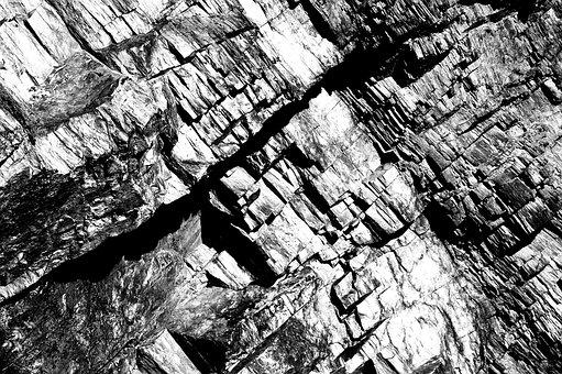 Quarry, Stone, Rock, Monochrome