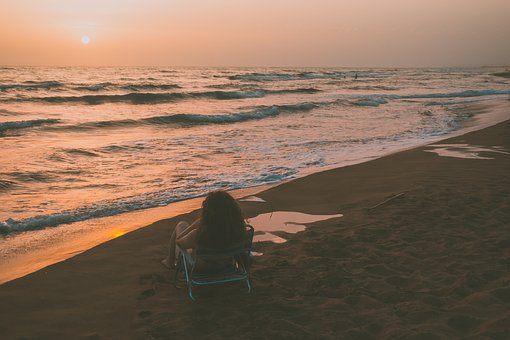 Sunset, Landscape, Beach, Girl, Looking, Relaxing, Sea
