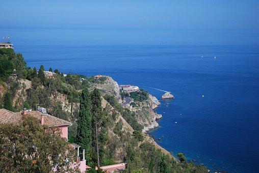 Taormina, Sicily, Messina, Mediterranean Sea