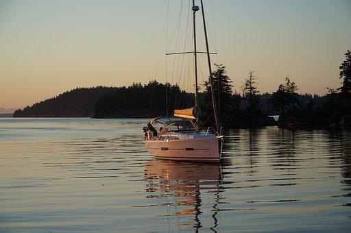 Sunset, Boat, Ocean, Still, Calm, Scenic, Yacht, Sky