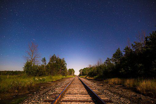 Night, Train Tracks, Railroad, Rail, Track