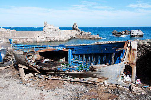 Broken, Boot, Port, Ain-taya, Algeria, Mediterranean