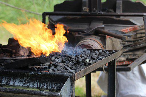 Fire, Embers, Heat, Bellows, Blacksmith, Flame, Carbon
