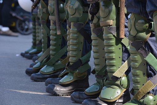 Human, Police, Demonstration, Uniform, Chain