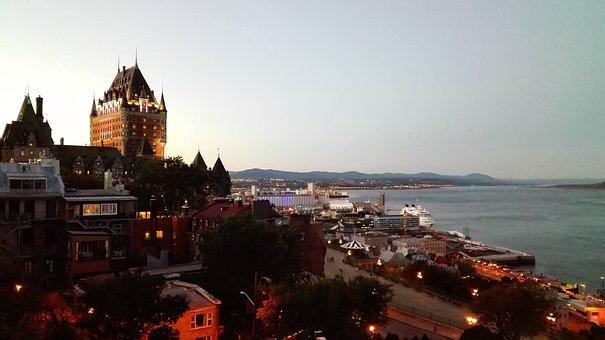 Quebec, Panorama, Night, Sunset, Sun, River, Frontenac
