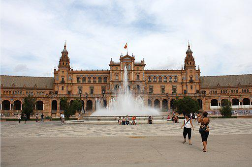 Seville, Plaza, Spain, Water, Source, Plaza España