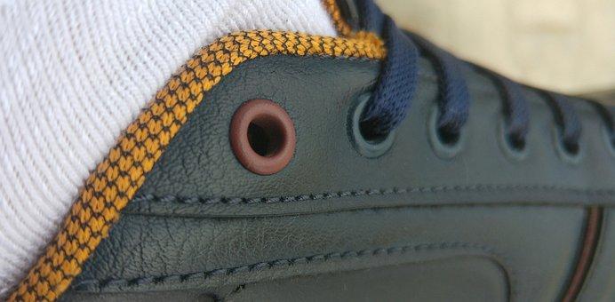 Shoes, Skin, Sports, Walk, Lacing, Sewing, Dark Blue