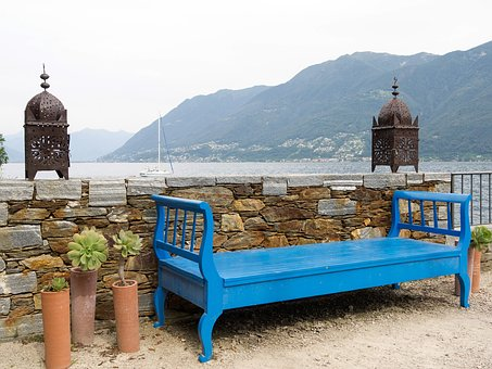 Lanterns, Bench, Rest, Click, Idyll, Seat, Blue, Wall