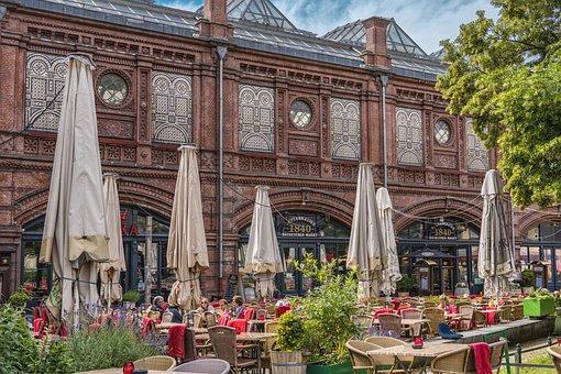Cafe, Berlin, Downtown, Facade, Summer, Eat, Parasol