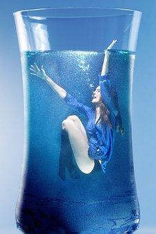 Woman, Water, Submerged, Glass, Drinking Glass, Female