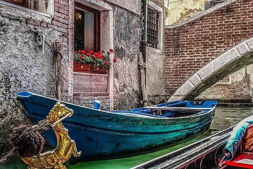 Venice, Gondola, Boat, Colors, Blue, Aqua, Old, Flowers