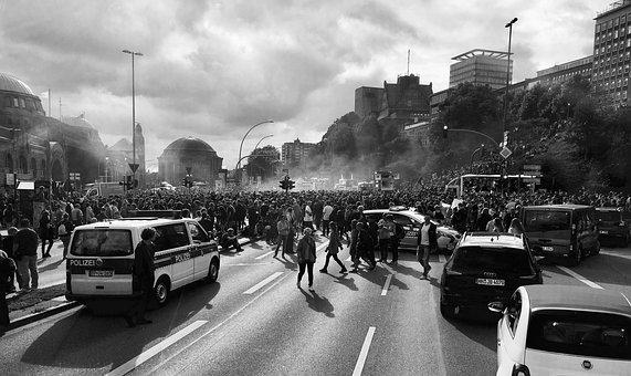 Demonstration, Hamburg, G20, Human, Police, Road, Mass