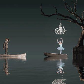 Chandelier, Boat, Female, Male