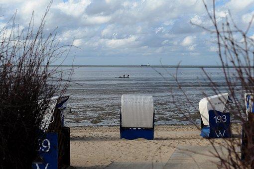 Beach, Beach Chair, Clubs, Sand, Sea, North Sea