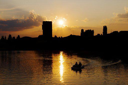 Love, Lake, Skyline, City, Boot, Pair