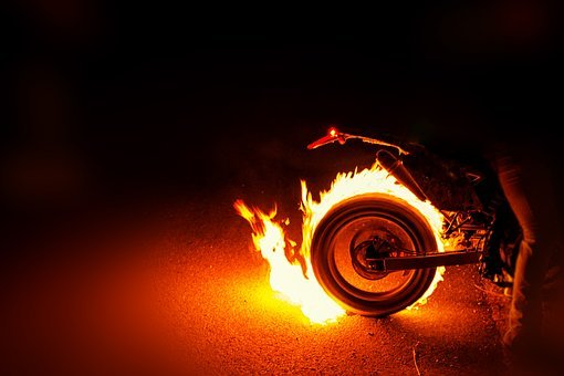 Motorcycle Tires, Fire, Burning, Burning Tires