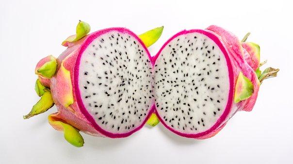 Fruit, Dragon, White, Isolated, Background, Pink