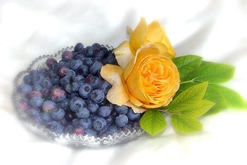 Blueberries, Fruit, Roses, Yellow, Blue, Still Life