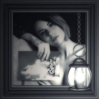 Nude, 2355896, Woman, Gray, Dark, Light, Lamp, Photo