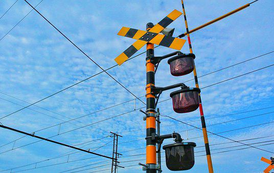 Electric Train, Japan, Railroad Crossing, Sky