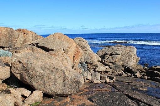 Rocks, Beach, Sea, Ocean, Landscape, Blue, Sky, Coast