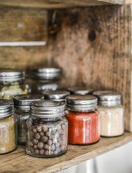 Spices, Shelf, Jar, Kitchen, Cooking, Wooden, Pepper
