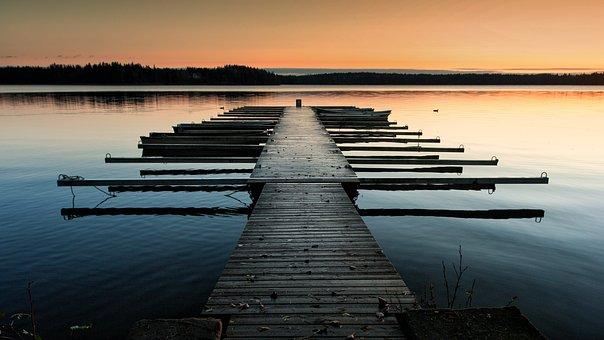 Pier, Sunset, Lake, Water, Autumn, Nature, Landscape