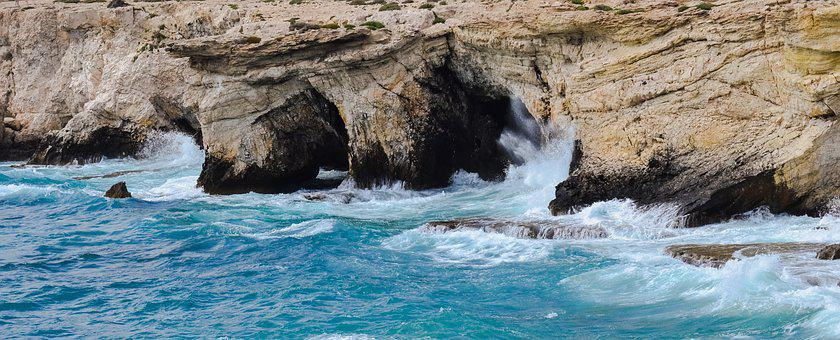 Rocky Coast, Sea Caves, Waves, Coast, Sea, Cliff, Crash
