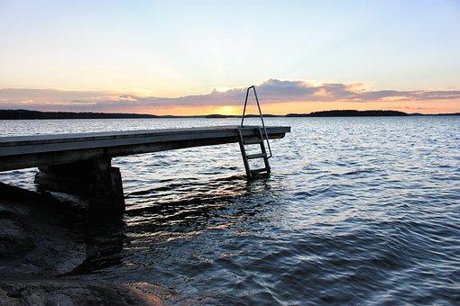 Pier, Sunset, Sea, Water, Travel, Summer, Nature