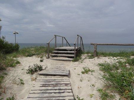 Sea, Baltika, Sand, Ladder, Sky, Beach, Calm, Water