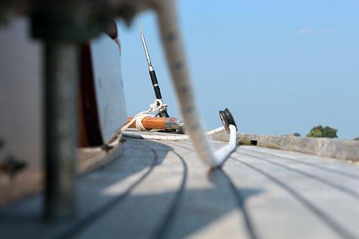 Sail, Sailing Boat, Boot, Detail, Dew, Rope, Knot, Wood