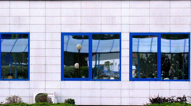Office Building, Window, Reflection, Glass
