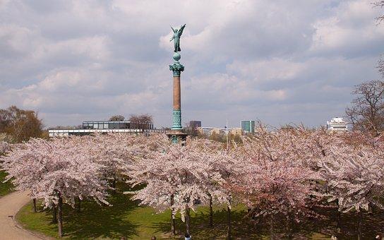 Langelinie, Statue, Angel, Cherry, Trees, Pink, Leap